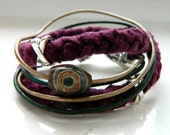 Natural Turquoise Brass Leather Cording Crimson Plum Braid Strap Tibetan Agate Wrap Bracelet - Inspired by The Shannara Chronicles