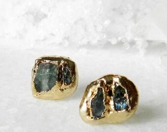 SUMMER SALE tourmaline earrings, tourmaline studs, gold earrings, stud earrings, electroformed tourmaline crystal