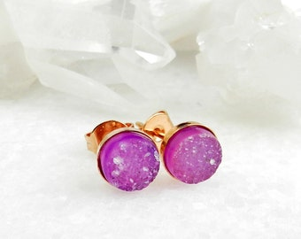 druzy earrings, druzy stud earrings, druzy studs, rose gold, rose gold earrings, dainty, minimal, crystal, gifts for her