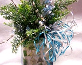 Decorated Christmas Floral Arrangement, Small Christmas Floral, Hand Decorated Vase, Green and Silver Floral, OFG Team, WWOFG