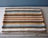Vintage Woven Placemats, Set of 4, Multicoloured Stripes, Retro Table Decor