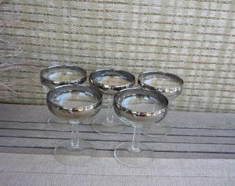Vintage Mid Century Modern Silver Ombre Cocktail Stemware, Mad Men Style Barware