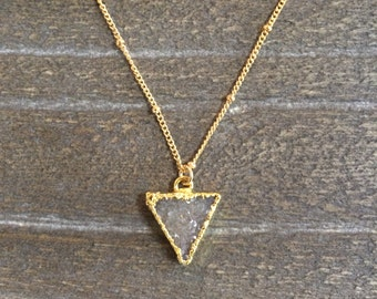 Zolie necklace - triangle gray lavender 24k gold plated druzy pendant necklace with 14k gold filled curb ball chain