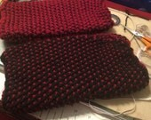 Custom order: black and red knit fingerless gloves