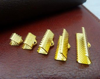 100 Gold plated leather ends ribbon cord end with hoop wholesale, 6mm/ 8mm/ 10mm/ 12mm/ 16mm/ 20mm/ 25mm