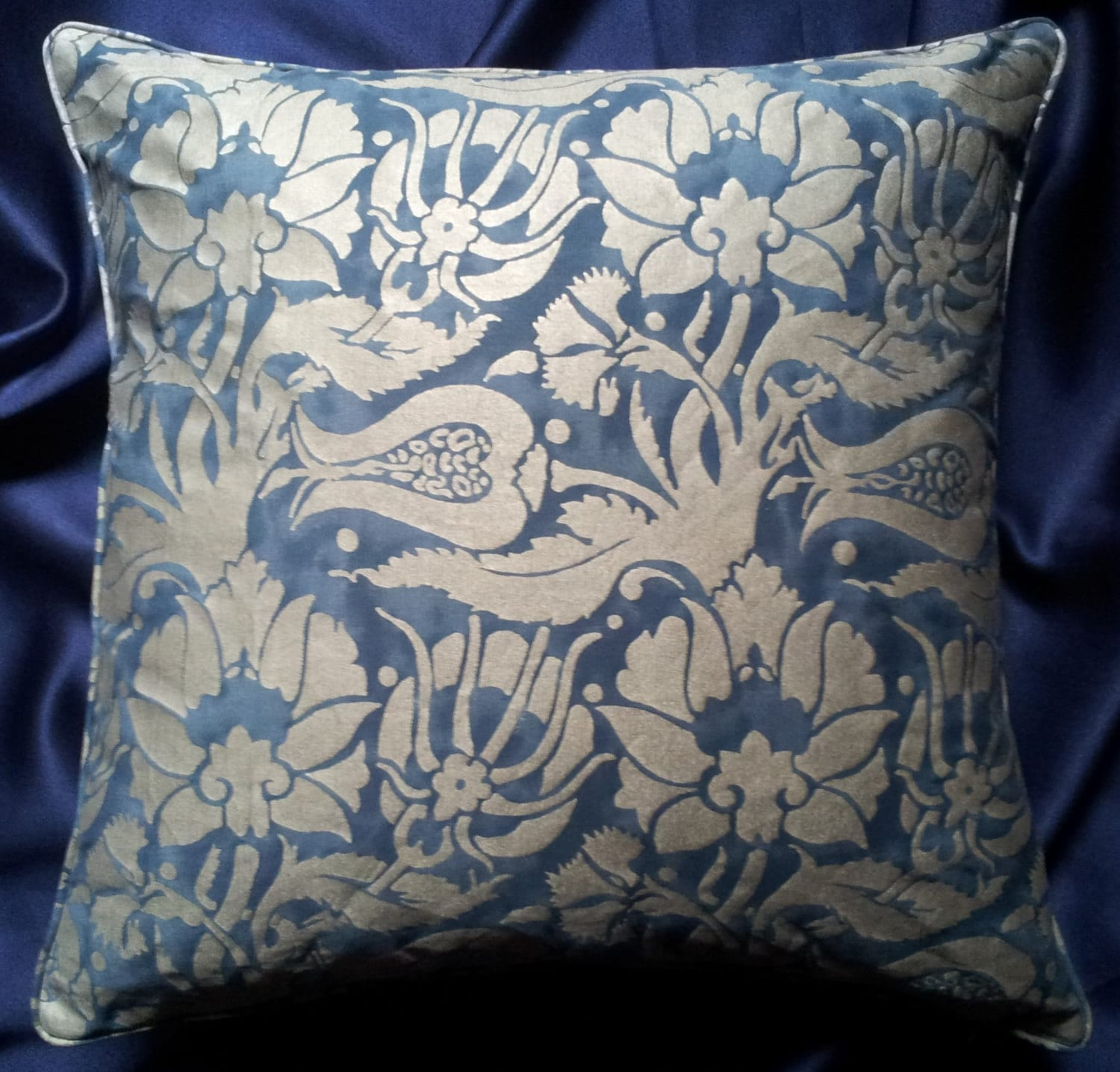 Fortuny fabric throw pillow cushion cover midnight blue - Fabric for throw pillows ...