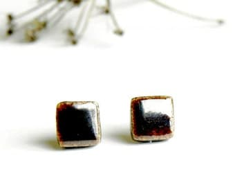 Black Bronze Unisex Stud Earrings Geometric Minimalist Square Earrings Post Contemporary Desing  Hypoallergenic Earrings