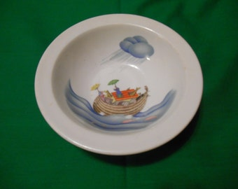 """One (1), 6 1/4"""" Porcelain, Child's Bowl, from Royal Worcester, in the Noah's Ark Pattern. Circa 1980's."""