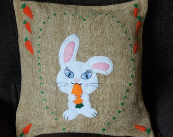 """Rabbit pillow, cushion cover """"White Rabbit with a Carrot"""", appliqued, handmade, animal"""