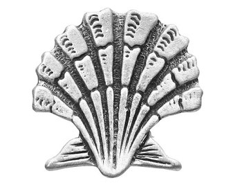 2 Seashell 7/8 inch ( 22 mm ) Pewter Buttons