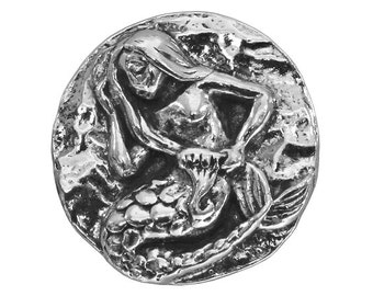 Green Girl Mermaid 13/16 inch ( 21 mm )Pewter Metal Button