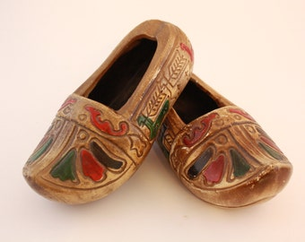 Hand Painted Ceramic Dutch Shoes