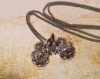 Marcasite Rose Necklace Sterling Silver