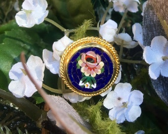 Micro Mosaic Ring 1950's Vintage Cobalt Sapphire Blue Woodland Floral