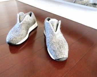 Vintage Grey Wool Felted Sneakers, Felted Wool Sneakers, SOLES #DMS537, Slow design. momoish made.