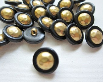 5pcs Gold n Black Dome Plastic Shank Buttons