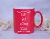 Personalised CUSTOM Big BIRTHDAY Decorative Mug - 18th, 21st, 30th, 40th, 50th, 60th, 70th, 80th, 90th, 100th