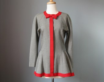 """Fitted Houndstooth Jacket / Vtg / """"Jane Street"""" Black and White Houndstooth Jacket / Red Trim / Fit and Flare / Peplum"""