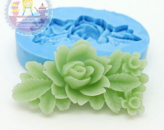 Flower with Leaves Barrette 33mm Silicone Bakery Push Flexible Mold 402m*  BEST QUALITY