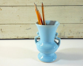 Small Light Blue Pottery Vase with Grecian Arms USA
