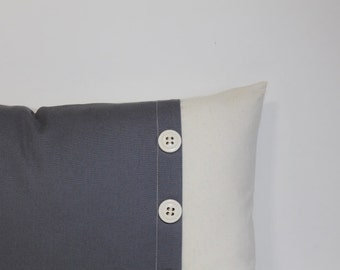 Grey & ivory pillow cover. Colorblock button pleat accent pillow, lumbar pillow cover, accent throw pillow