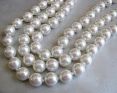 Triple Strand Ivory Pearl Necklace - Vintage Ivory Pearls - Elegant Vintage Pearl Necklace