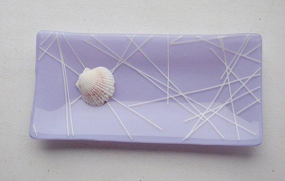Glass fused 5x10 sushi dish/plate in lavender/purple glass with white abstract stripes