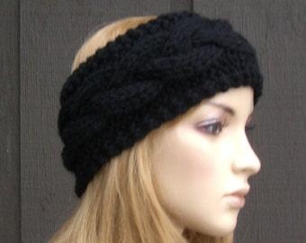 Cable Knit Headband Head Wrap Earwarmer Winter Black
