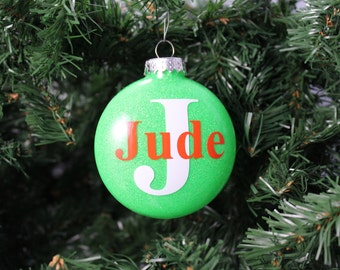Neon Green and Orange Glitter Personalized Monogram Glass Ornament