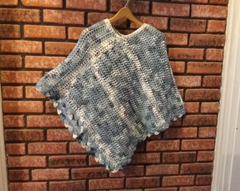 blue and white varrigated ladies or teenagers poncho