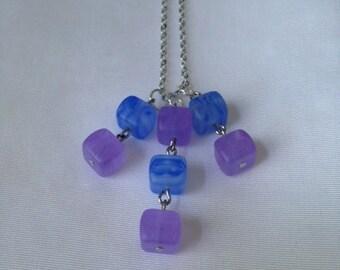 Blue and Purple Czech Glass Necklace