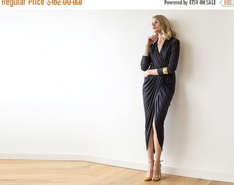 Formal black maxi wrap dress with long sleeves , Wrap formal black gown