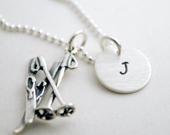 Custom Initial Necklace with Snow Ski Pole Charm - Ski Team Gift - Senior Night - Hand Stamped Sterling Silver