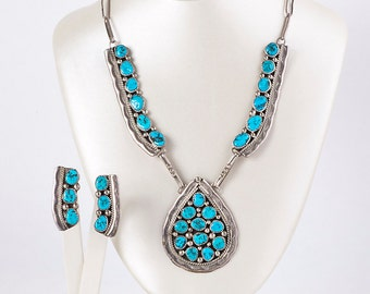Turquoise Necklace and Earring Set - Vintage Navajo 1970's Sterling Silver Turquoise Matching Earring & Necklace Set