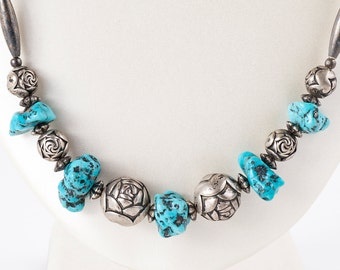 Vintage Necklace - Vintage Sterling Silver and Turquoise Nugget Beaded Necklace