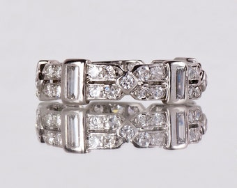 Antique Wedding Band - Antique Art Deco Platinum Diamond Eternity Wedding Band