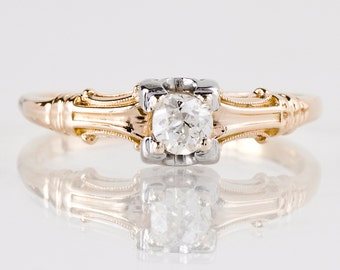 Antique Engagement Ring - Antique 1920's 14k Rose and White Gold Diamond Engagement Ring