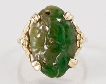 Antique Ring - Antique Jadeite Ring - Antique 1930s 14k Yellow Gold Carved Jadeite Ring