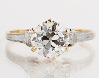 Antique Engagement Ring - Antique 15k Yellow & White Gold Diamond Engagement Ring