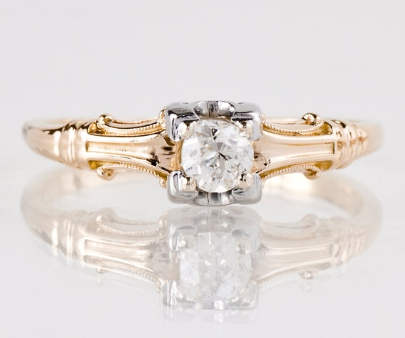 Antique Engagement Ring Antique 1920's 14k Rose And