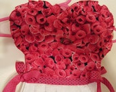 Raspberry Pink with Roses Kitchen Oven Door or Bath Towel Bar. 100% cotton. Unique gift