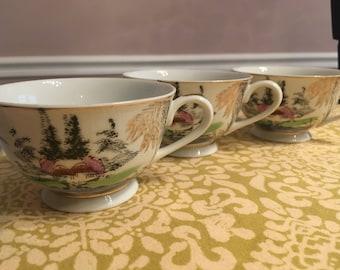 Kutani China Set of 3 Tea Cups Japan