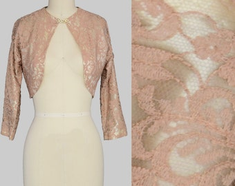 Vintage 50s Jacket Cover Up Pink Lace and Satin Bolero S
