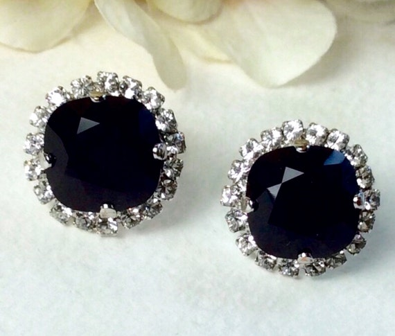 Swarovski Crystal 12MM Cushion Cut Stud Earrings With Halo  - Gorgeous Earrings - Stunning Jet With Crystal Halo -  SALE 35. - FREE SHIPPING