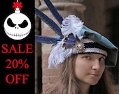 READY TO SHIP - hat renaissance beret floppy muffin fantasy merchant ren faire baby blue white feather shakespeare navy blue pheasant