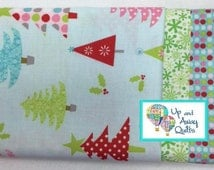 Pillowcase Kit - Blue Christmas Trees Home for the Holidays