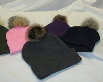 Beanie with real fur Pom Pom