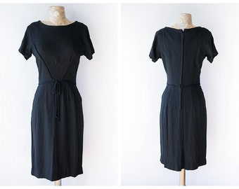 Classic Black Linen Dress - Vintage 1960's Wiggle Dress - Simple Little Black Dress - Size Small