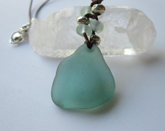 Teal Green and Leather  Beach Glass Necklace - Ocean Lover, For Her, Gift For Her, Birthday, Gift For Friend, Anniversary