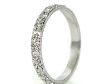 14kt White Gold Hand Engraved Art Deco Design Floral Wedding Band